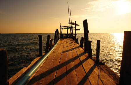 Wood Dock in the Sea photo