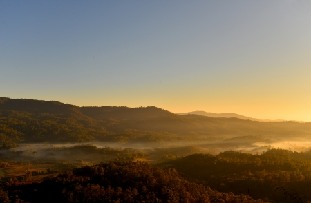 Mountain Range Landscape in the Mist photo