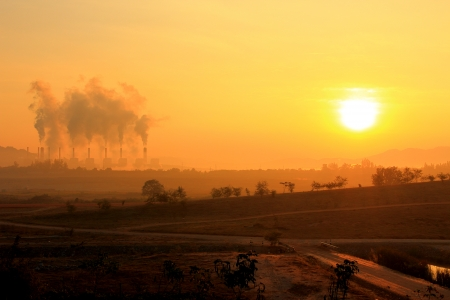 Coal Power Plant with Pollution photo