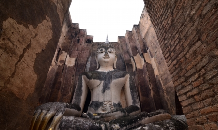 Buddha Statue of Wat Sri Chum Temple, Landmark of Sukhothai Historical Park, Thailand  Stock Photo