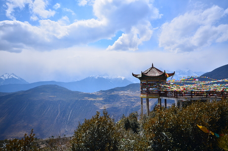 Tibet Temple with Snow Mountain