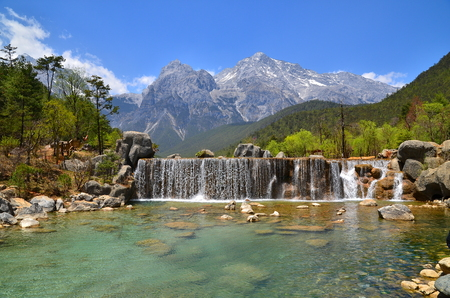 The Valley of Waterfall at Alpine Mountain photo