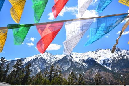 Tibetan Prayer Flags on Mountain