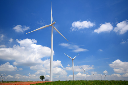 Wind Turbine Generator in Green Fields photo