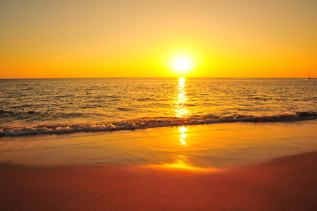 Beautiful Beach at Sunset Backgrounds Stock Photo