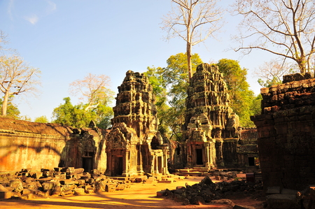 thom: Ta Prohm Temple of Angkor Thom in Cambodia Stock Photo
