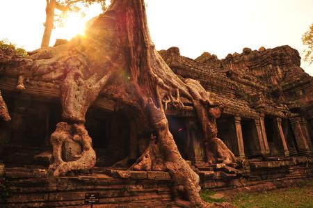 khan: Angkor Preah Khan Temple of Cambodia Stock Photo