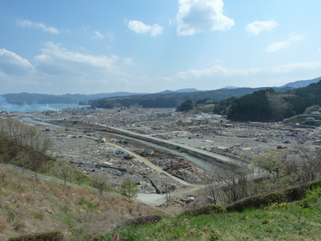 The effects of the tsunami in Japan. Destruction after the most powerful tsunami in 2011.