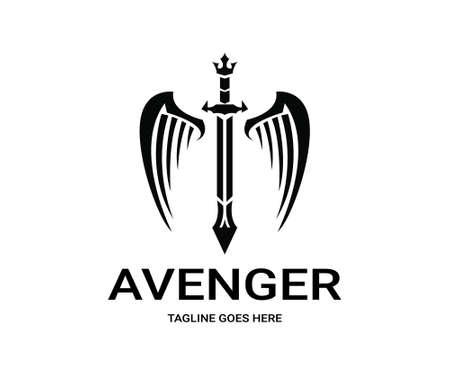 avenger: logo que se venga. logotipo de la espada Vectores