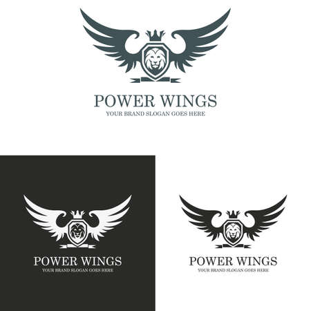 lion with wings: Power wings logo. Lion crest. Illustration