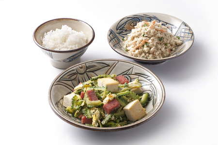 bitter melon: Goya chanpuru, bitter melon stir-fried with pork, tofu and other vegetables and rice