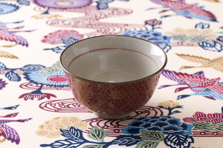 rice bowl: Rice bowl and Okinawa cloth Stock Photo