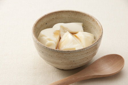 soymilk: Pudding of soy milk and milk Stock Photo