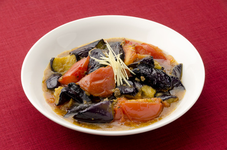 Stir-fried minced meat miso eggplant and tomato Stock Photo - 69966074