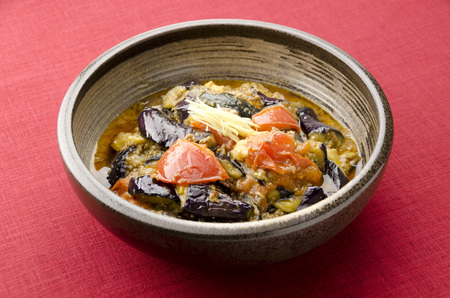 Stir-fried minced meat miso eggplant and tomato Stock Photo