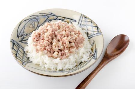 hash: Corned beef hash on top of the rice Stock Photo