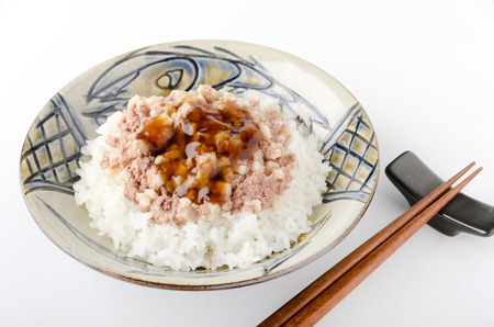 hash: Corned beef hash sweet soy sauce jelly on top of the rice Stock Photo