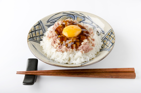 meaty: Sweet soy sauce jelly to corned beef hash egg on top of the rice