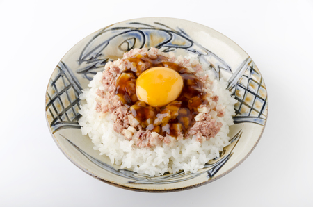 hash: Sweet soy sauce jelly to corned beef hash egg on top of the rice