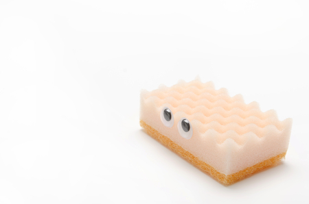 small articles: sponge for dishes, eyeball, look around restlessly Stock Photo