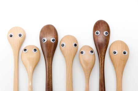 Wooden spoon, eyeball, look around restlessly 写真素材