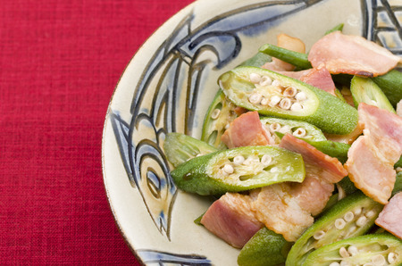Stir fried bacon with okra,