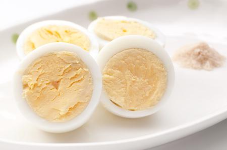 boiled egg, egg, half,