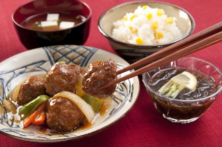 Meat dumplings sweet and sour sauce