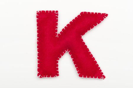 Alphabet K is made of felt