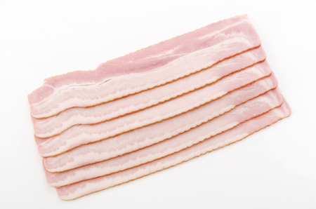 uncooked bacon: Fresh cold sliced bacon Stock Photo