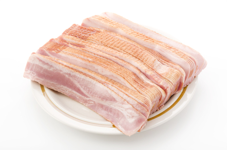 Fresh cold sliced bacon Stock Photo