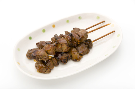 Japanese cuisine, Yakitori liver.  Grilled chicken Yakitori. Yakitori (Yakitori are grilled chicken skewers).
