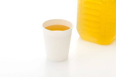 necessities: paper cup with Tea Stock Photo