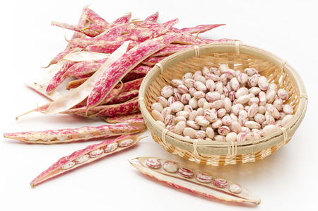 pea pod: borlotti beans Stock Photo