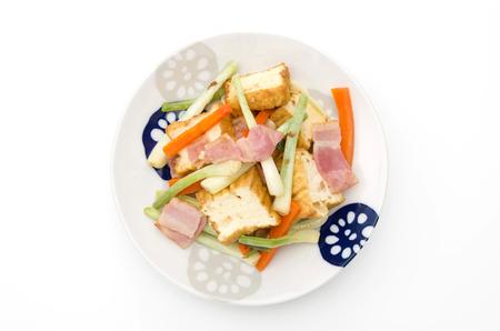 Stir-fried Okinawa Shallot (Rakkyo) and Deep Fried Tofu