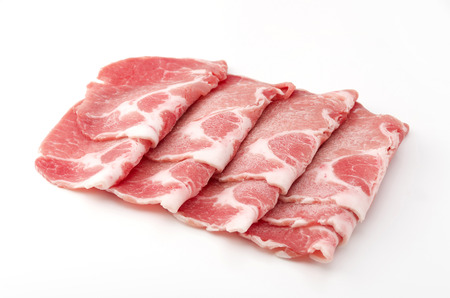 pork boston butt thinly sliced 写真素材