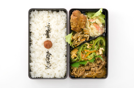 Japanese box lunch, Yakiiku Goya Bento, Stock Photo