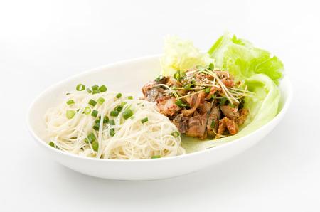 Somen (Japanese Somen Noodles) and kimuchi canned mackerel