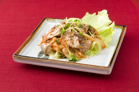 Cook dishes, kimuchi with canned mackerel