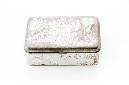 Rusted metal box isolated on white background. 스톡 콘텐츠