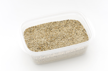 Fish meal is a fish dried and crushed into powder. It is mainly used as feed and organic fertilizer, but it is sometimes used for cooking as food.