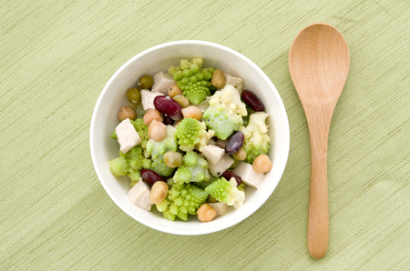 Romanesco broccoli with mixed beans chicken salad Banco de Imagens