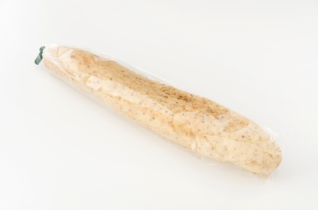 Chinese yam in plastic bag white background