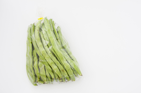 Flat green beans in plastic bag 版權商用圖片
