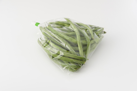 string beans in plastic bag Stock Photo
