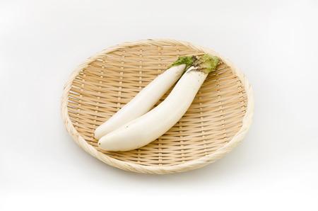 Long thin white eggplant