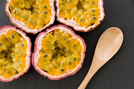 Passion fruit on stone plate