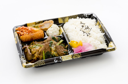 Rebaniraitame bento, (stir fried liver and chinese chives)