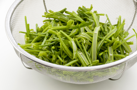 Cut vegetables ready for cooking, Chinese Morning Glory