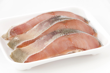 Raw White salmon fillets